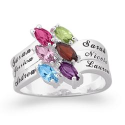 Sterling Silver Family Marquise Birthstone Name Ring
