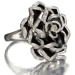 White Topaz and Black Enamel Rose Ring in Sterling Silver