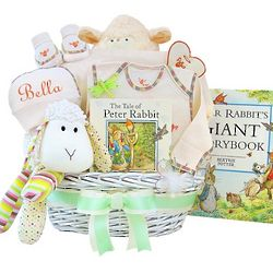 Lamb and Peter Rabbit Baby Gift Basket