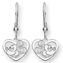 Mickey Mouse Sterling Silver Heart Dangle Earrings