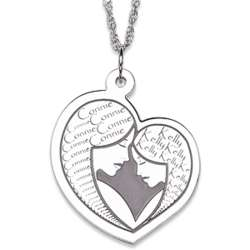 Sterling Silver Mother Daughter Embrace Necklace