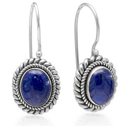 Lapis Rope Design Sterling Silver Euro Wire Earrings