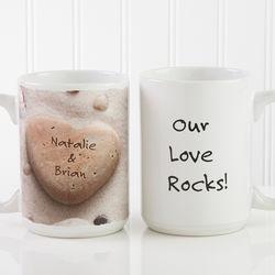 Personalized Heart Rock Large Coffee Mug