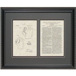 Baseball Glove 16x20 Framed Patent Art Print