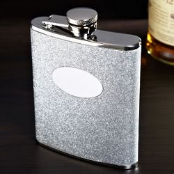 Engravable Silver Glitter Hip Flask