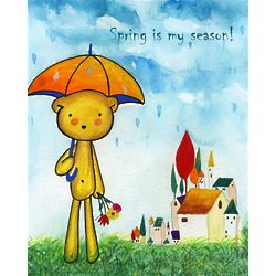 April Showers Teddy Bear Art Print