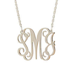 Personalized Medium Sterling Silver Filigree Monogram Necklace