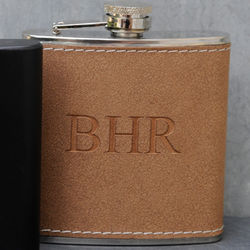 Tan Hide-Stitch Personalized Flask