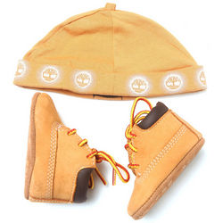 Boy's Wheat Crib Booties and Winter Hat