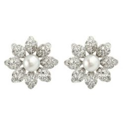Sterling Silver Pearl And Cubic Zirconia Daisy Stud Earrings