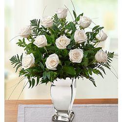 Premium Long Stem White Roses in Silver Vase