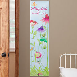 Flowers and Butterflies Personalized Growth Chart