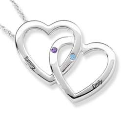 Sterling Silver Couple's Birthstone and Name Heart Necklace