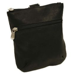 Black Leather Zippered Valuables Pouch