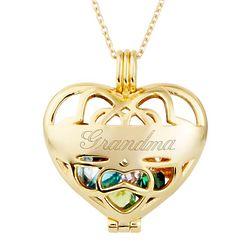 Personalized 4mm Round Birthstone Gold Heart Locket