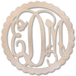 "22"" Scallop Edge Wood Monogram"