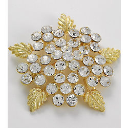 Camelot Floral Brooch with Clear Austrian Crystals