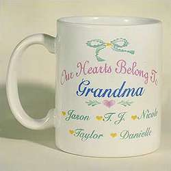 Personalized Our Hearts Belong to Grandma Coffee Mug