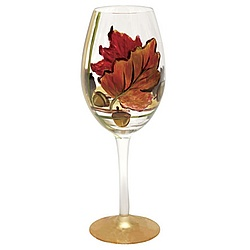 Fall Leaves White Wine Glass