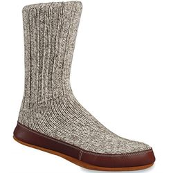 Grey Ragg Wool Slipper Socks