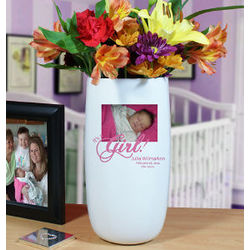Personalized It's a Girl Photo Ceramic Vase