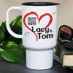 Personalized Romantic Message Barcode Travel Mug