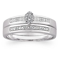 Sterling Silver Diamond Cluster 2 Piece Engraved Wedding Set