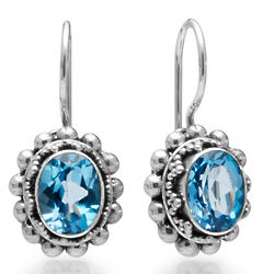 Blue Topaz Granulated Sterling Silver Euro Wire Earrings