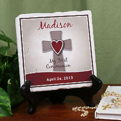 Personalized My First Communion Cross Tumble Stone Plaque