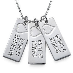 Mother's Personalized Heart Name Bar Necklace in Sterling Silver