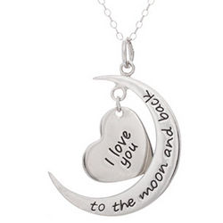 Engravable I Love You To The Moon and Back Heart Charm Necklace