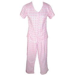 Flower-Print Knit Pajama Set