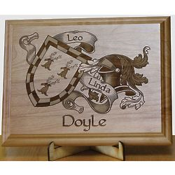 Laser Engraved Couples Family Crest Plaque