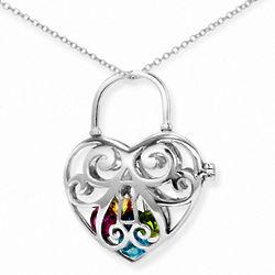 I Love You Key To My Heart 4mm Round Birthstone Locket