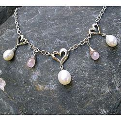 Heart Rose Quartz Briolette Necklace