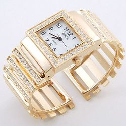 Parisian Styled Crystal Accented Bangle Bracelet Watch