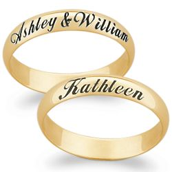 14K Gold Top-Engraved Name Band