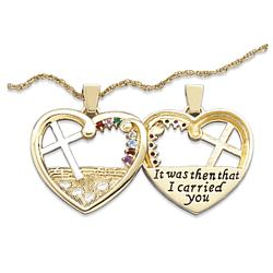Two-Tone Footprints Heart Cross Birthstone Pendant
