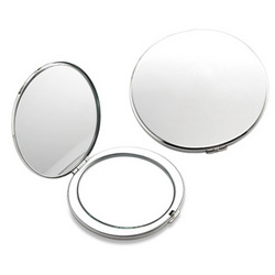 Personalized Silver Round Compact Mirror