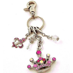 Pink Crown Tiara Keychain or Purse Charm
