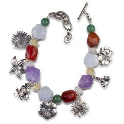 Desert Flower Charms and Pastel Gemstones Toggle Bracelet