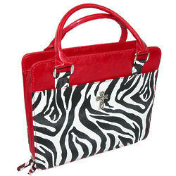 Faux Zebra and Red Accents Purse Style Bible Cover