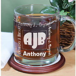 Engraved Initials Glass Coffee Mug