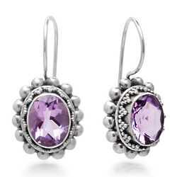 Amethyst Granulated Sterling Silver Euro Wire Earrings