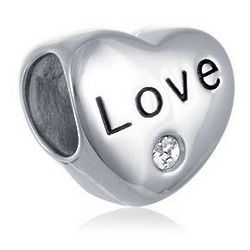 Love Heart Bead with White Crystal
