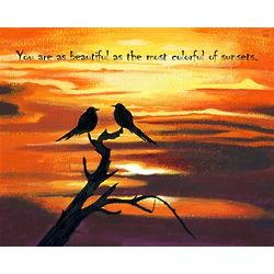 Birds At Sunset Personalized Art Print