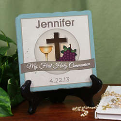 Personalized My First Communion Tumble Stone Plaque