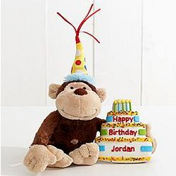 Birthday Monkey with Giant Cookie