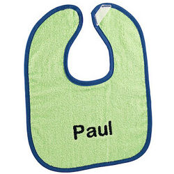 Lime and Royal Personalized Bright Baby Bib