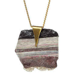 Long Stacked Paper and Recycled Glass Pendant Necklace